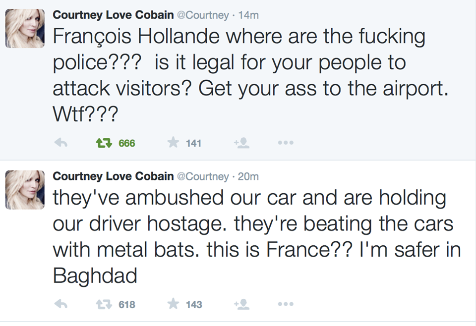 Courtney Love tweet taxi
