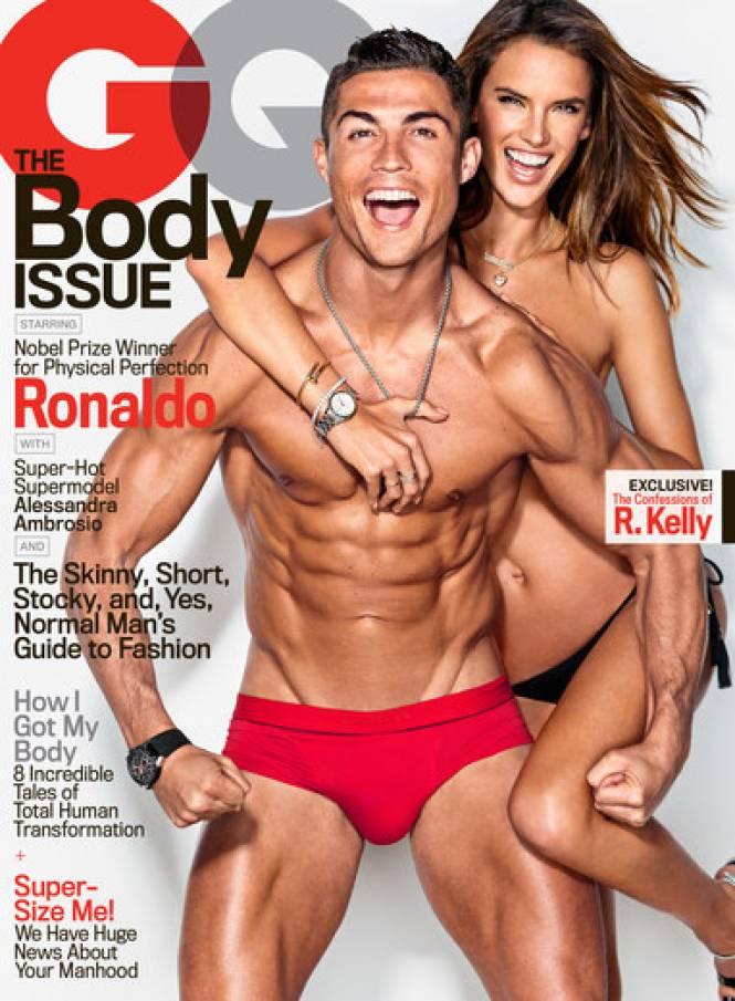 photo sexy Cristiano Ronaldo Alessandra Ambrosio GQ nu slip